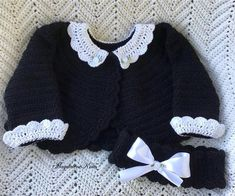 Crocheted Infant Girl Bolero Sweater Noir w White Lace Collar Cuff Crochet For Kids, Crochet Baby, Irish Crochet, Knit Crochet, Double Crochet, Crochet Ideas, Bolero Sweater, Crochet Lace Collar, Thing 1