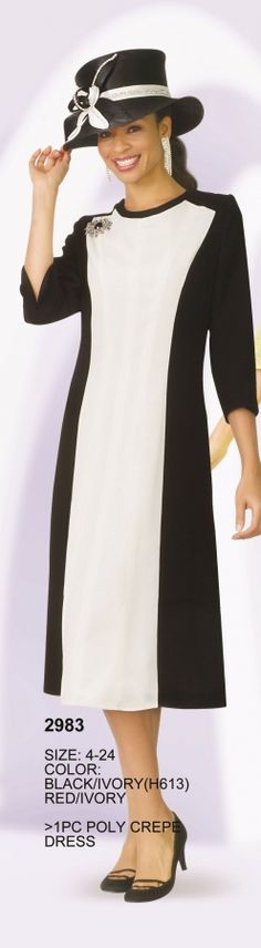 Lily and Taylor 2983 Color Block Dress- Poly crepe long sleeve color block church dress. MATCHING HAT H613 (Black/Ivory) sold separately for $97.99