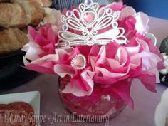 Centerpiece idea...used different color tissue paper for the different princess' with a crown on each one! @Cyndi Price Kathleen Trejo