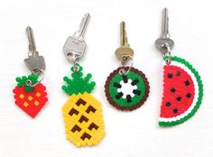 DIY hama perler beads fruit keyring pineapple watermelon kiwi strawberry kawaii gift craft- My kids love making these bead crafts. Perler Bead Designs, Diy Perler Beads, Perler Bead Art, Pearler Beads, Fuse Beads, Hama Beads Patterns, Beading Patterns, Craft Day, Craft Gifts