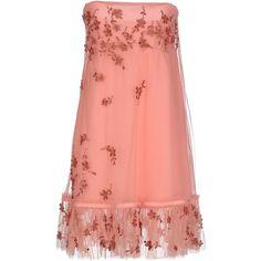 Twin-set Simona Barbieri Short Dress (£181) ❤ liked on Polyvore featuring dresses, salmon pink, pink sleeveless dress, no sleeve dress, short pink dress, sleeveless short dress and short dresses