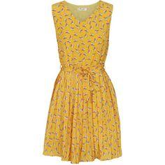 Yellow Bird Print Vintage Pleated Chiffon Dress