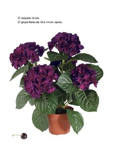 HORTENSIA artificial en maceta color CEREZA 36 CM  VILLAFIORE.ES