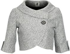 Gray cropped blazer - love the wrap and collar.