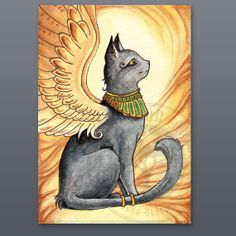 Bast Winged Cat ACEO  Watercolor Painting Print by StarwoodArts, $5.00