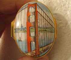 Halcyon Days Enamel Box Tiffany & Co Trinket Pill Box Golden Gate Bridge  #HalcyonDays
