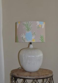 Blue yellow pineapple linen lampshade