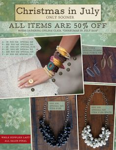 Christmas in July… Only Sooner! What could be more fun that 50% off?  www.myjbloom.com/lunderwood