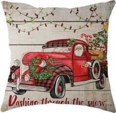 Hand-painted with watercolors by Jean Plout this whimsical Vintage Christmas Truck collection. Fun Christmas plaids with holiday sentiments or just the truck and all the trimmings. 5 different choices, something for that special guy this Christmas Season! Christmas Red Truck, Christmas Scenes, Christmas Pictures, Christmas Time, Vintage Christmas, Christmas Crafts, Christmas Decorations, Christmas Printables, Emoji Christmas