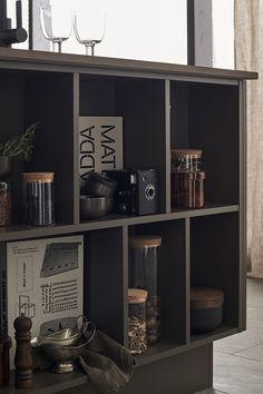 Arkitekt plus Bark Aesthetic Japan, Brown Kitchens, Interior Decorating, Interior Design, Vintage Kitchen, My Dream Home, Liquor Cabinet, Living Room, Storage