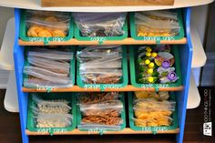 School lunches. Snack station. Repurpose a toy stand or bookshelf to create a snack stop filled with healthy, pre-proportioned treats.