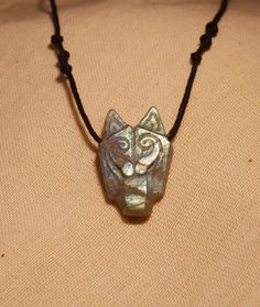 wolf necklace labradorite stone. by shamanstones on Etsy