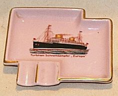 Vintage C1930 SS Bremen Ocean Liner Souvenir Ashtray