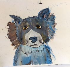 Dog.  Watercolour paint & India Ink. Different Media, India Ink, Create Image, Watercolour Painting, Dogs, Projects, Art, Craft Art, Pet Dogs