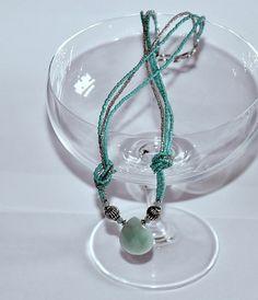 Necklace blue quartz, Toho beads