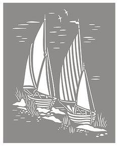 Toile Sail Boats Stencil Coastal Toile de Jouy Stencils