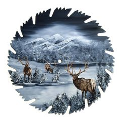 Hand Painted Saw Blade Mountain Gray Winter Three Elk by LindasMountainCrafts on Etsy