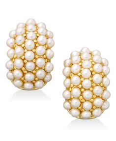 Erwin Pearl Atelier for Charter Club Gold-Tone Mini Imitation Pearl Huggie Earrings, Only at Macy's | macys.com
