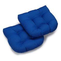 Blazing Needles Twill U-Shaped Indoor Chair Cushion - Set of 2 Royal Blue - 93184-2CH-TW-RB