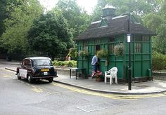 You must have noticed them: jolly green garden sheds that squad in odd spots of London like displaced emerald Tardises, steam coming out the windows and doors.  The last remaining cabbies shelters...HG Wells and PG Wodehouse
