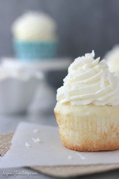 Light and fluffy Coconut Cream Pie Cupcakes!