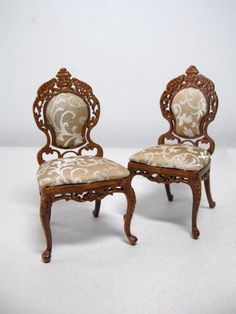 Dollhouse Miniature Famous Furniture 6701 WN Finish Victorian Side Chairs | eBay