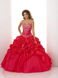 Velvet Red Beaded Sweetheart Puffed Ball Gown Quinceanera Dress