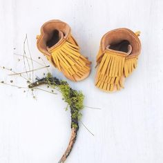 These would be so cute for spring!Mustard N Natural Bison  Ultra Fringe BOOTS Baby and Toddler