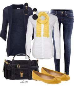 """Casual Navy and Yellow"" by christa72 ❤ liked on Polyvore"