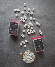 Whimsy & Spice marshmallow minis in strawberry and vanilla.