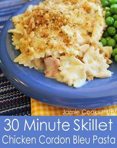 30 Minute Skillet Chicken Cordon Bleu Pasta from Jamie Cooks It Up!
