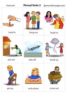 Kids Pages - Phrasal Verbs 3 English Grammar For Kids, English Phonics, Learning English For Kids, Teaching English Grammar, English Lessons For Kids, English Verbs, Kids English, English Writing Skills, English Reading