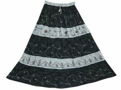 Amazon.com: Gypsy Boho Skirt Ari Embroiderd Bohemian Long Skirts (BLack Grey): Clothing