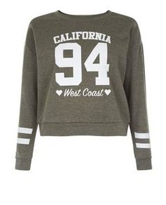 Teens Khaki California 94 Print Sweater | New Look
