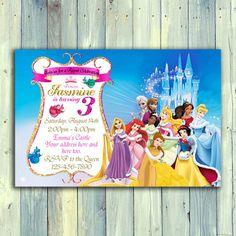Disney Princess invitación princesa cumpleaños invitación