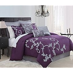 Duchess Plum Comforter Set - Overstock Shopping - Great Deals on Comforter Sets Plum Comforter Set, Purple Bedding Sets, Purple Bedrooms, Gray Bedding, Purple Curtains, King Comforter, Dorm Bedding, Suites, Bed Sets