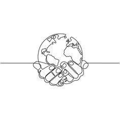 Continuous one line drawing. - Continuous one line drawing. tattoo Continuous one line drawing. Outline Art, Outline Designs, Globe Outline, Outline Drawings, One Line Tattoo, Line Tattoos, Erde Tattoo, Earth Drawings, Planet Drawing