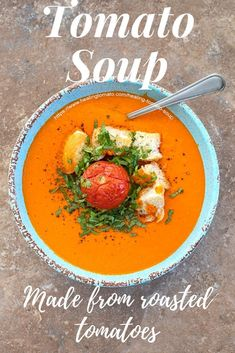 Easy Homemade Tomato Soup made with fresh tomatoes. I used campari tomatoes to make this Healing Tomato Soup www. via Healing Tomato - Easy Vegan Recipes and Vegetarian Meals Vegetarian Comfort Food, Vegetarian Soup, Vegan Soups, Vegetarian Recipes, Healthy Recipes, Comfort Foods, Savoury Recipes, Vegan Blogs, Delicious Recipes