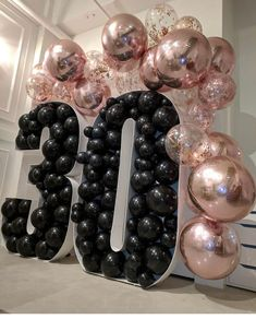 black gold party organic balloon display for dirty thirty birthday, rose gold confetti balloons, rose gold mylar balloons, black balloons - 30th Birthday Balloons, Birthday Balloon Decorations, Wedding Balloons, 30th Balloons, Rose Gold Party Decorations, Surprise Party Decorations, Celebration Balloons, Graduation Decorations, 30th Party