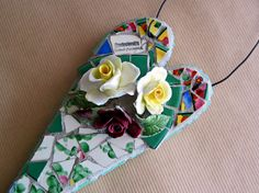 Vintage China Flower Garden Mosaic Heart by RushCreekVintage, $65.00