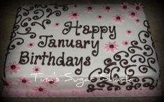Sheet Cake Ideas for Birthday | sheet cake iced in buttercream with fondant flowers. Serves 24