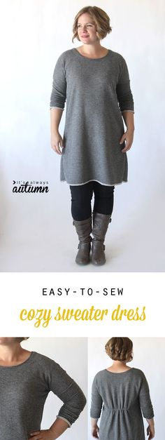 Learn how to sew this cute, easy to make DIY sweater dress or tunic with a free printable pattern and sewing tutorial. Sie Herbstkleid the breezy tee long sleeve sweater dress {free sewing pattern} - It's Always Autumn Sewing Patterns Free, Free Sewing, Clothing Patterns, Pattern Sewing, Free Pattern, Dress Patterns, Pattern Dress, Pants Pattern, Fabric Patterns
