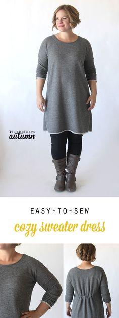 Apprendre à coudre ce mignon, facile à faire robe pull bricolage ou une tunique avec un motif à imprimer gratuitement et couture tutoriel.