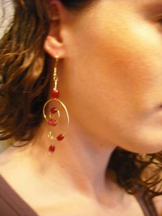 Handmade Gold Wire and Ruby Dangle Earrings by creativebirdie, $8.20