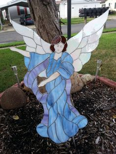 Large Stained Glass Angel Window or wall by WendiLeeCreations