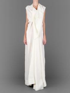 RICK OWENS TWISTED  SILK 'WEDDING' DRESS WITH DRAPED FRONT AND SHAWL COLLAR