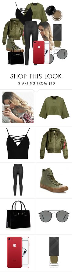 """""""Green Beauty"""" by klb12-love on Polyvore featuring Boohoo, Vetements, Armani Jeans, Converse, Ray-Ban, Burberry and Lancôme"""