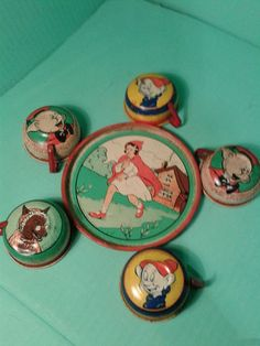 BIG BAD WOLF LITTLE RED RIDING HOOD 3 LITTLE PIGS PART TIN VINTAGE TEA SETS | eBay