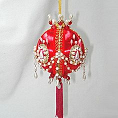 Chained Pearls On Red Satin Pin Beaded Christmas Ornament