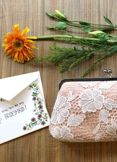 Bridesmaid Daisy Flower Guipure Lace Clutch in Peach Apricot - Redwood Wedding, Hand Drawn Cards, Bridesmaid Clutches, Wedding Clutch, Will You Be My Bridesmaid, Bridal Gifts, Wedding Events, Weddings, Wedding Planner